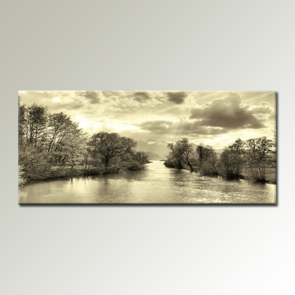 Cream Black And White Landscape 44X20 Inch Panoramic Canvas Wall Art Within Panoramic Wall Art (Image 4 of 10)