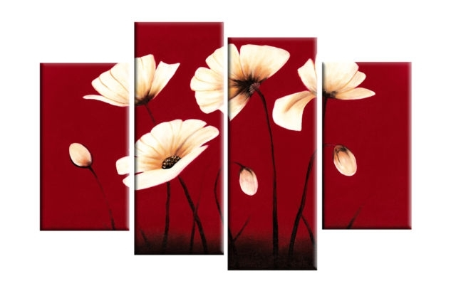Cream Flowers On Red Background – 4 Panel Canvas Print Intended For Red Wall Art (Image 3 of 10)