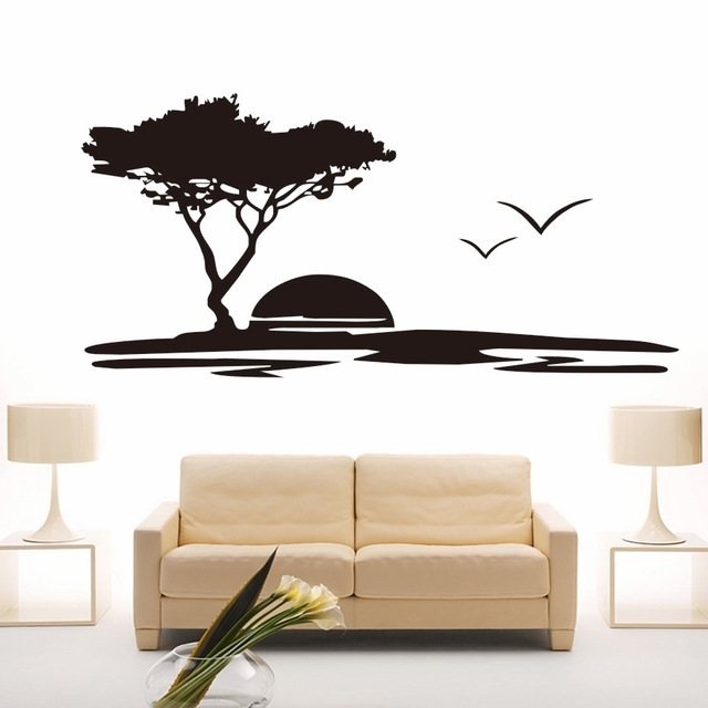 Creative Diy Wall Art Big Tree And Seagulls Nature Wall Stickers In Nature Wall Art (Image 5 of 10)