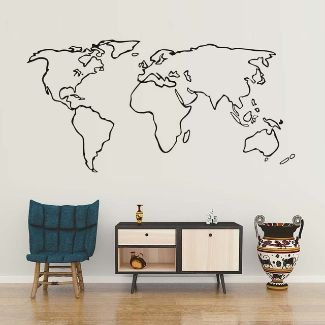 Creative World Map Wall Sticker Modern Minimalism Vinyl Wall Art Within Vinyl Wall Art World Map (View 4 of 10)