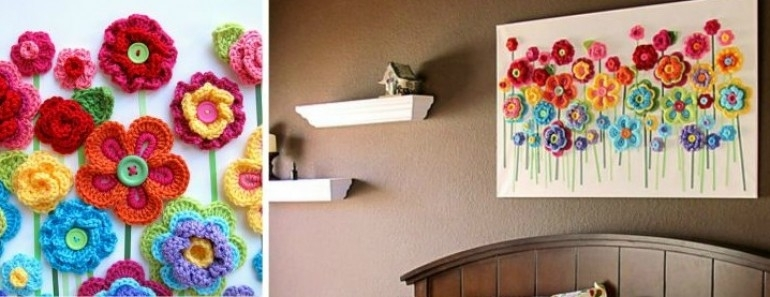 Crochet Button Flowers Wall Art | Beesdiy Pertaining To Crochet Wall Art (View 9 of 10)