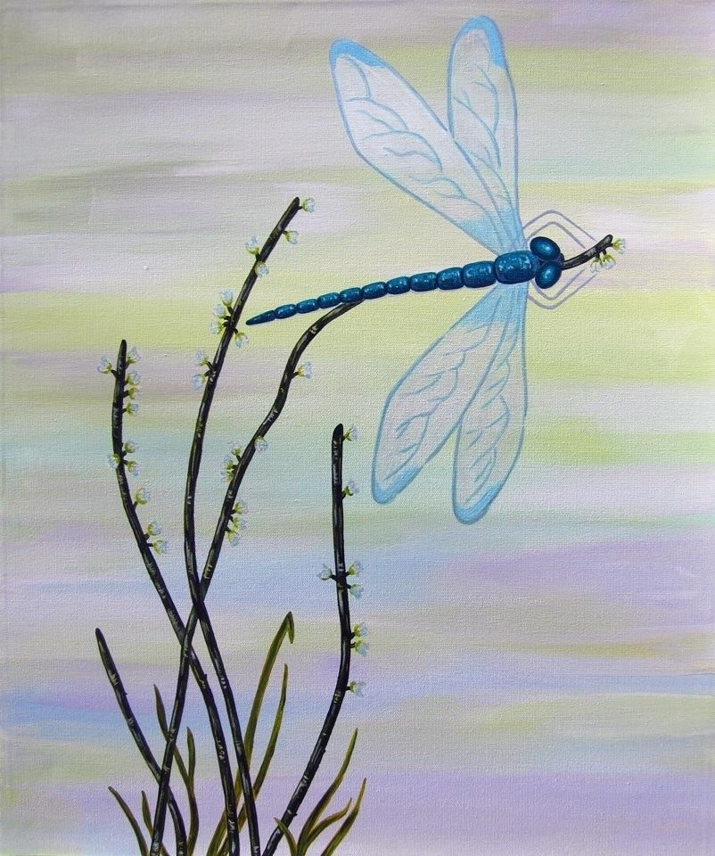 Custom Dragonfly 1/ Child Wall Art Owl Painting (Not A Print) In Dragonfly Painting Wall Art (Image 4 of 10)