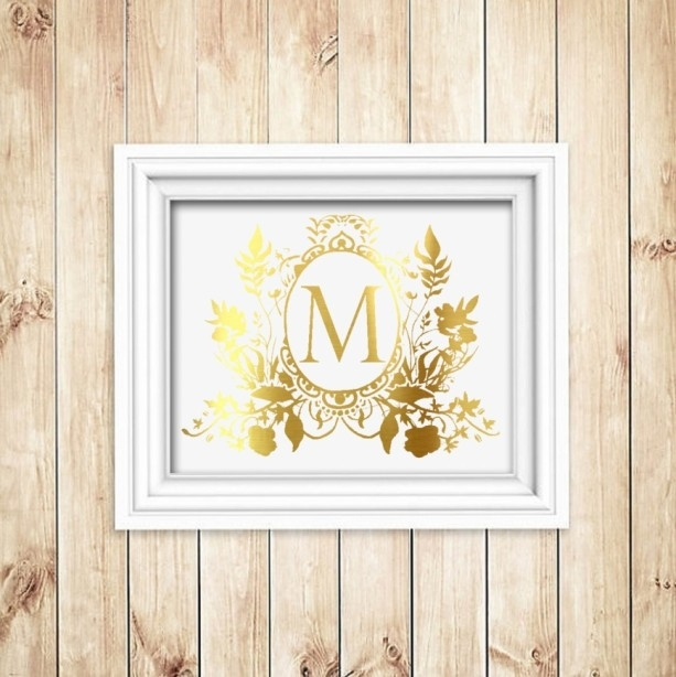 Custom Family Crest Gold Foil Print – Gold Foil Wall Art – Gold F Within Gold Foil Wall Art (Image 1 of 10)