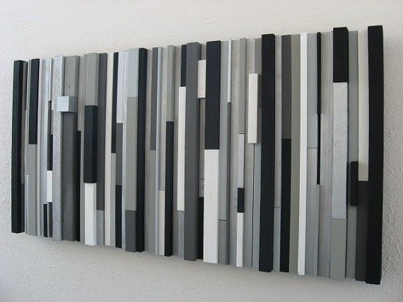 Custom Modern Wood Wall Art Sculpture Black White Greys Silver With Regard To Grey And White Wall Art (Image 3 of 10)