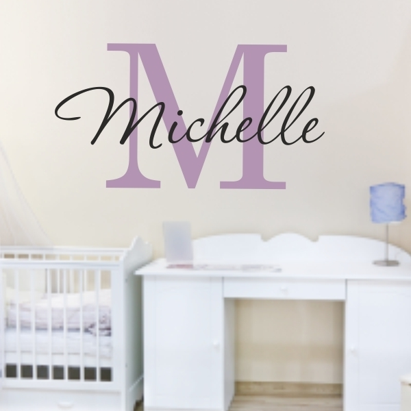 Custom Name Monogram Name Wall Sticker For Kids Or Adults Inside Name Wall Art (Image 1 of 10)