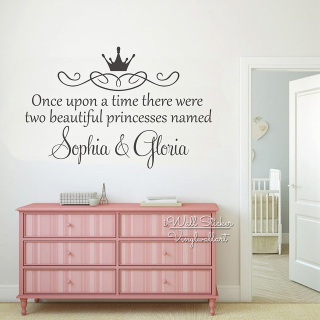 Custom Twins Name Wall Sticker Girls Name Wall Art Decal Children Pertaining To Name Wall Art (Image 2 of 10)