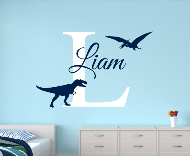 Customize Name Dinosaur Wall Decals For Boys Bedroom Kids Room Intended For Dinosaur Wall Art (View 2 of 10)