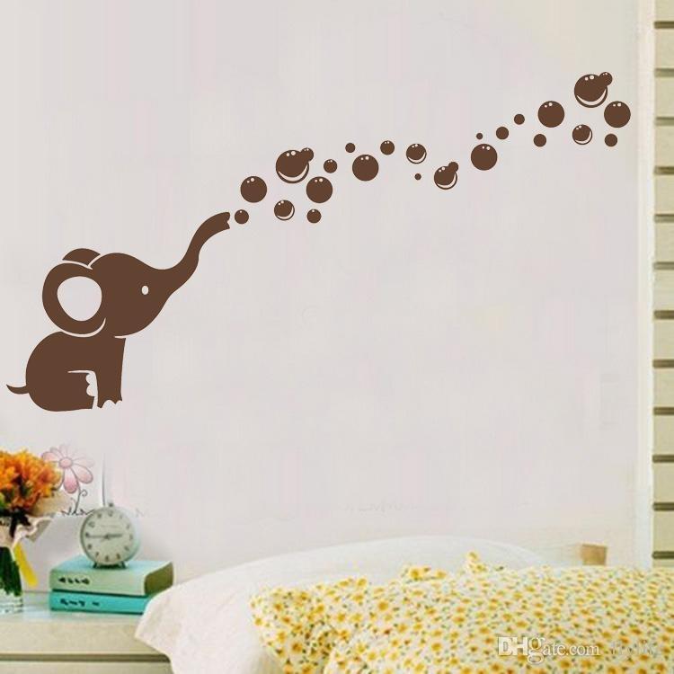 Cute Elephant Bubbles Diy Vinyl Wall Art Sticker Waterproof Nursery Within Baby Room Wall Art (View 6 of 10)