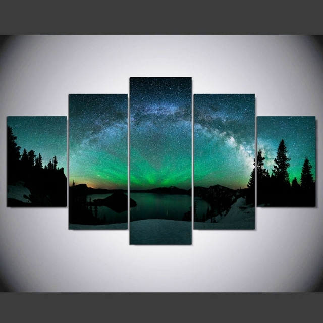 Dafenjingmo Arts 5 Piece Canvas Art Print Over Aurora Painting For 5 Piece Wall Art (Photo 1 of 10)