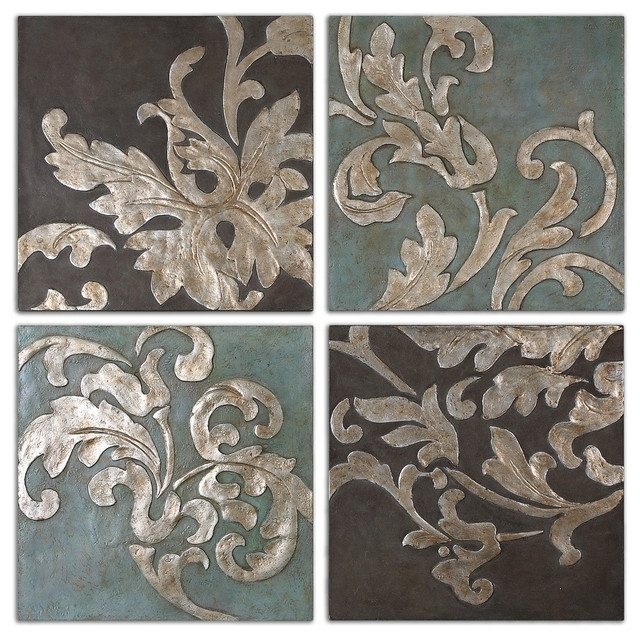 Damask Relief Blocks Wall Art, 4 Piece Set – Traditional – Paintings With Regard To Traditional Wall Art (Photo 2 of 10)