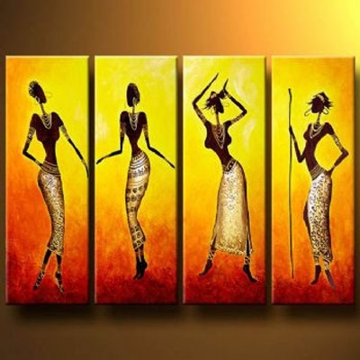 Dance Of African Girls Modern Canvas Art Wall Decor Abstract Oil Throughout Wall Art Paintings (Image 8 of 10)