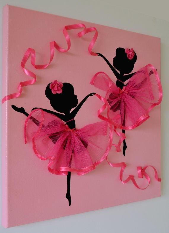 Dancing Ballerinas Pink Wall Art (Image 5 of 10)