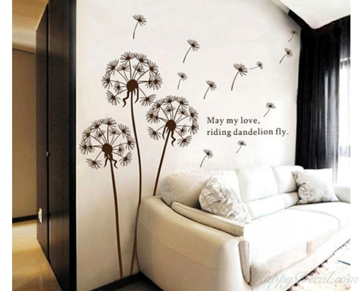Dandelion Wall Decal With Quotes Vinyl Decals Modern Wall Art Stickers Within Dandelion Wall Art (Image 5 of 10)