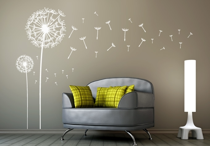 Dandelions Set Of 2 Wall Decal – Dandelion Vinyl Art Throughout Dandelion Wall Art (View 3 of 10)