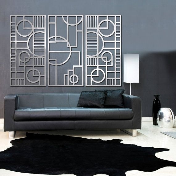 Deco Panel Trio 23 X 46 In Brushed Aluminum | Mission | Pinterest Inside Art Deco Wall Art (Photo 5 of 10)