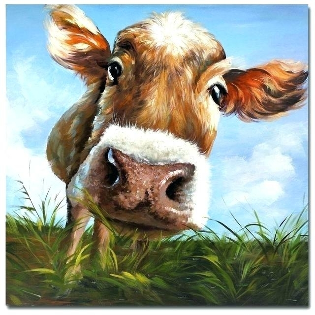 Decoration: Cow Canvas Wall Art New Modern Mural Picture On Eating Inside Cow Canvas Wall Art (Photo 10 of 10)