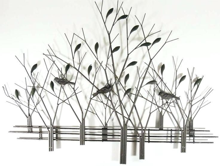 Decoration: Metal Wall Art Tree Scene With Birds Trees And Fence Inside Metal Wall Art Trees (Image 2 of 10)