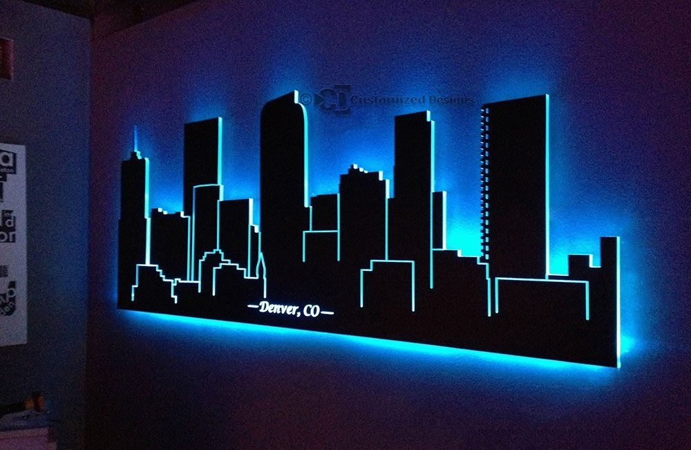 Denver Colorado Led Lighted Skyline | Art | Pinterest | Denver With Led Wall Art (Image 4 of 10)