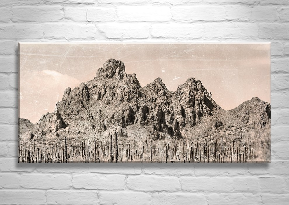 Desert Landscape, Arizona Photograph, Mountain Art, Sepia, Vintage In Arizona Wall Art (View 9 of 10)