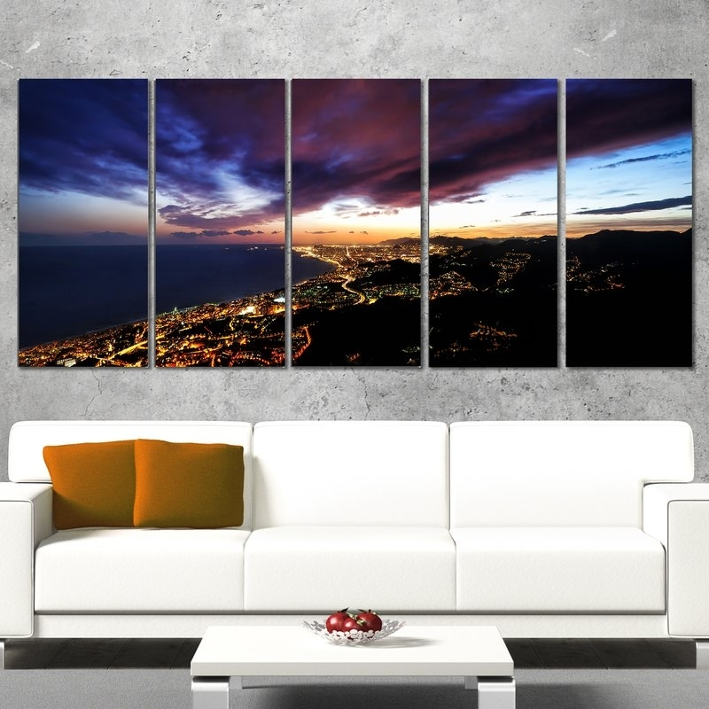 Designart Barcelona Skyline Panorama 5 Piece Wall Art On Wrapped Within 5 Piece Wall Art Canvas (Image 5 of 10)