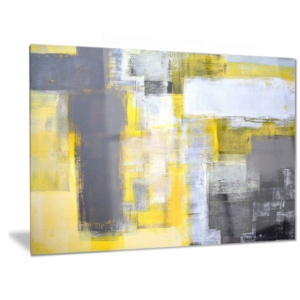 Designart 'grey And Yellow Blur Abstract' Abstract Metal Wall Art Throughout Yellow Wall Art (View 5 of 10)