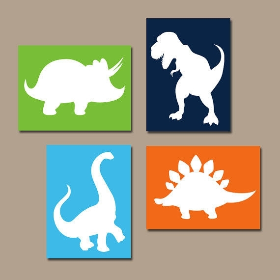 Dinosaur Wall Art Canvas Or Prints Boy From Trm Design | Wall Art Regarding Dinosaur Wall Art (View 1 of 10)
