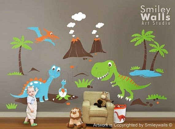 Dinosaurs Wall Decal, Dino Dinosaurs Land Huge Set Baby Nursery Kids With Dinosaur Wall Art (View 9 of 10)