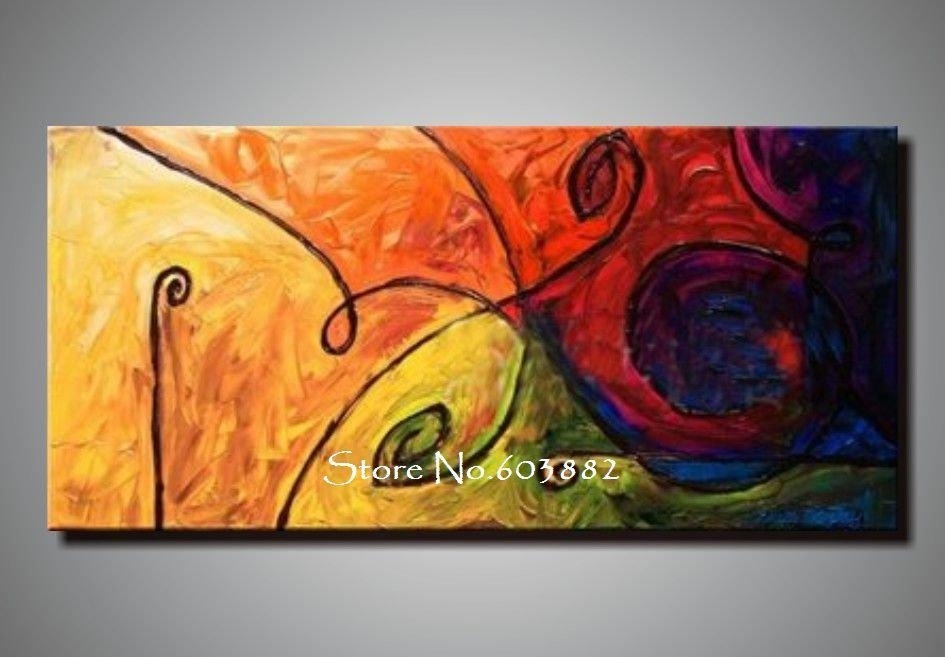 Discount 100% Handmade Large Canvas Wall Art Abstract Painting On Throughout Discount Wall Art (Photo 2 of 10)