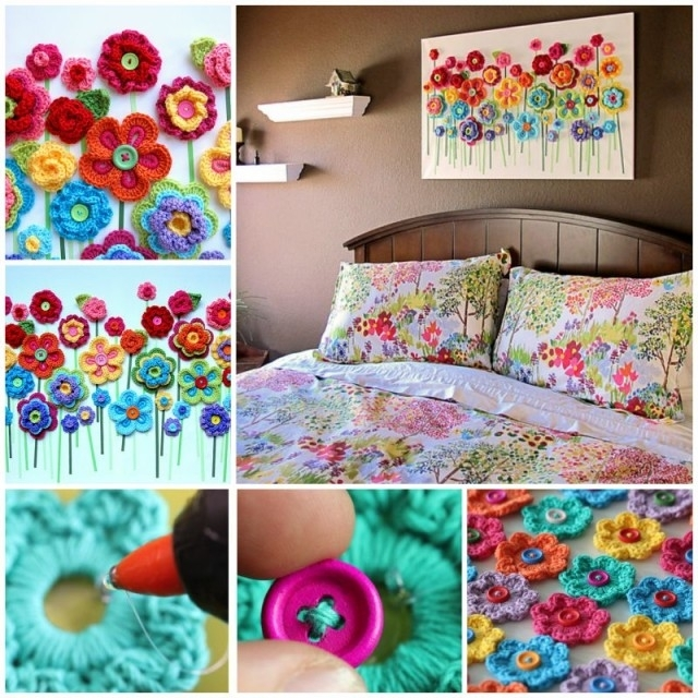 Diy Crochet Button Flower Blossom Wall Art Within Crochet Wall Art (View 3 of 10)