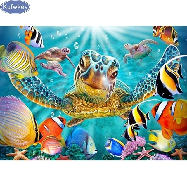 Diy Diamond Embroidery,5D Diamond Painting,diamond Mosaic,3D Pattern Regarding Sea Turtle Canvas Wall Art (Photo 1 of 10)