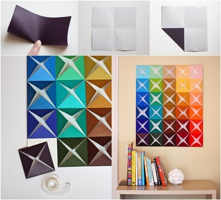 Diy Easy Folded Paper Wall Art Inside Paper Wall Art (Image 2 of 10)