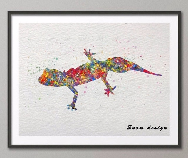 Diy Original Barking Gecko Watercolor Canvas Painting Wall Art With Regard To Gecko Canvas Wall Art (Image 2 of 10)