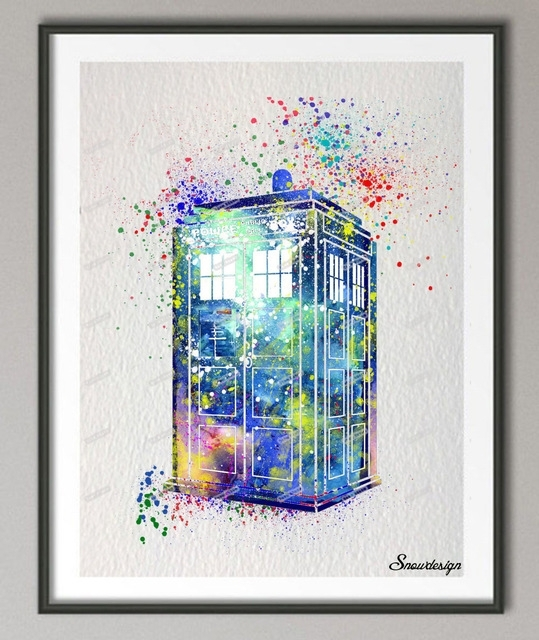 Diy Original Watercolor Doctor Who Tardis Wall Art Canvas Painting With Regard To Doctor Who Wall Art (Image 2 of 10)