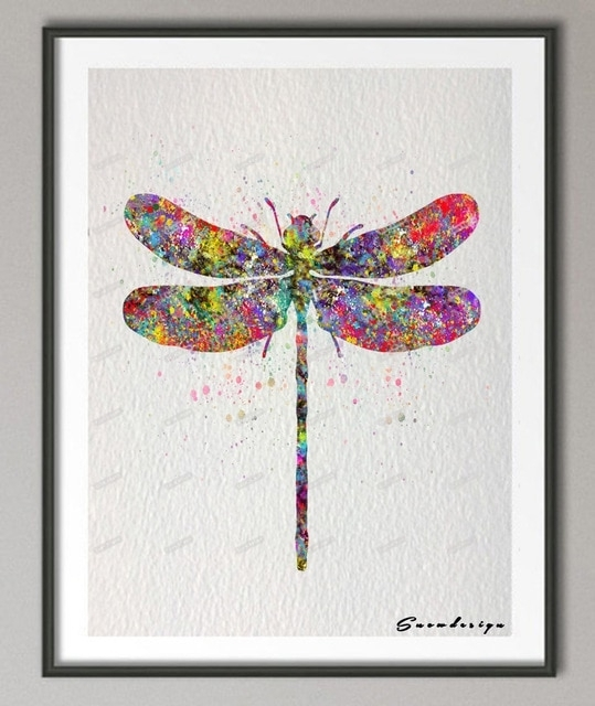 Diy Original Watercolor Dragonfly Canvas Painting Pop Wall Art Regarding Dragonfly Painting Wall Art (Image 5 of 10)