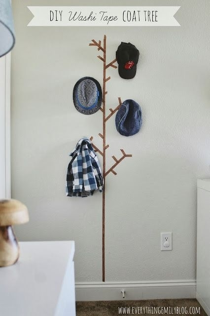 Diy Washi Tape Tree Coat | Kids Rooms | Kids Roomsveronica Within Washi Tape Wall Art (Photo 3 of 10)