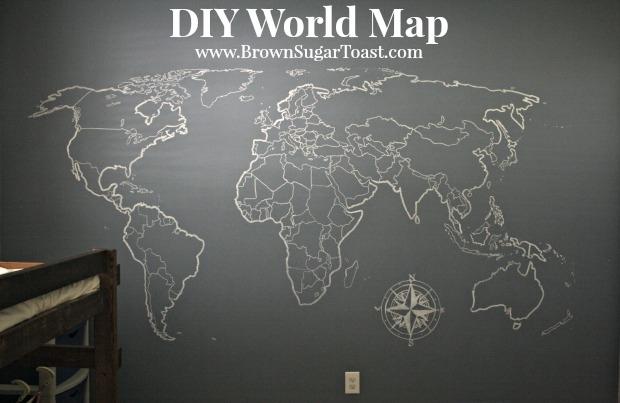 Diy World Map Wall Art – Brown Sugar Toast Intended For Diy World Map Wall Art (View 9 of 10)