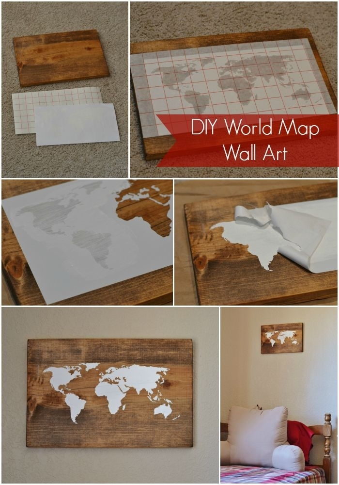 Diy World Map Wall Art Tutorial | Travel :)))))) | Pinterest | Art Pertaining To Diy World Map Wall Art (View 5 of 10)