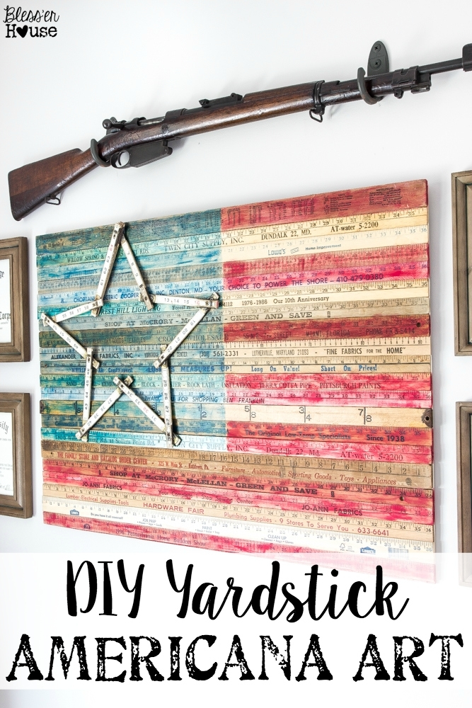 Diy Yardstick American Flag Wall Art (Thrifty Under Fifty) – Bless Pertaining To Vintage American Flag Wall Art (Image 3 of 10)