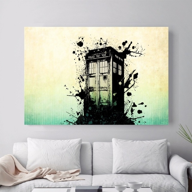 Doctor Who Police Box Artwork Canvas Art Print Painting Poster Wall Inside Doctor Who Wall Art (Image 4 of 10)