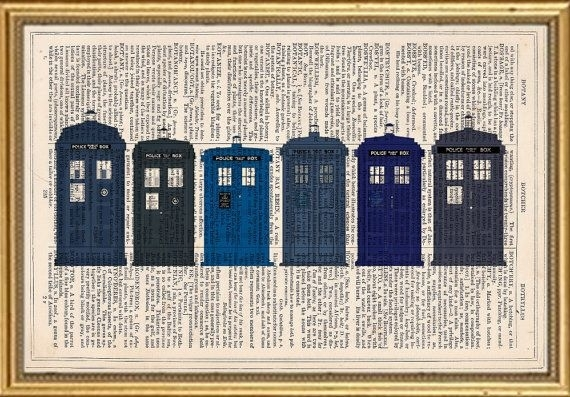 Doctor Who Tardis Dictionary Art Print Book Page Antique Vintage With Regard To Doctor Who Wall Art (Image 5 of 10)