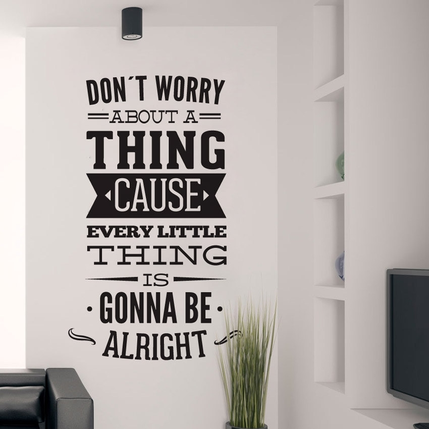 Dont Worry About A Thing Bob Marley Song Lyrics Quote Sticker Within Song Lyric Wall Art (Image 4 of 10)