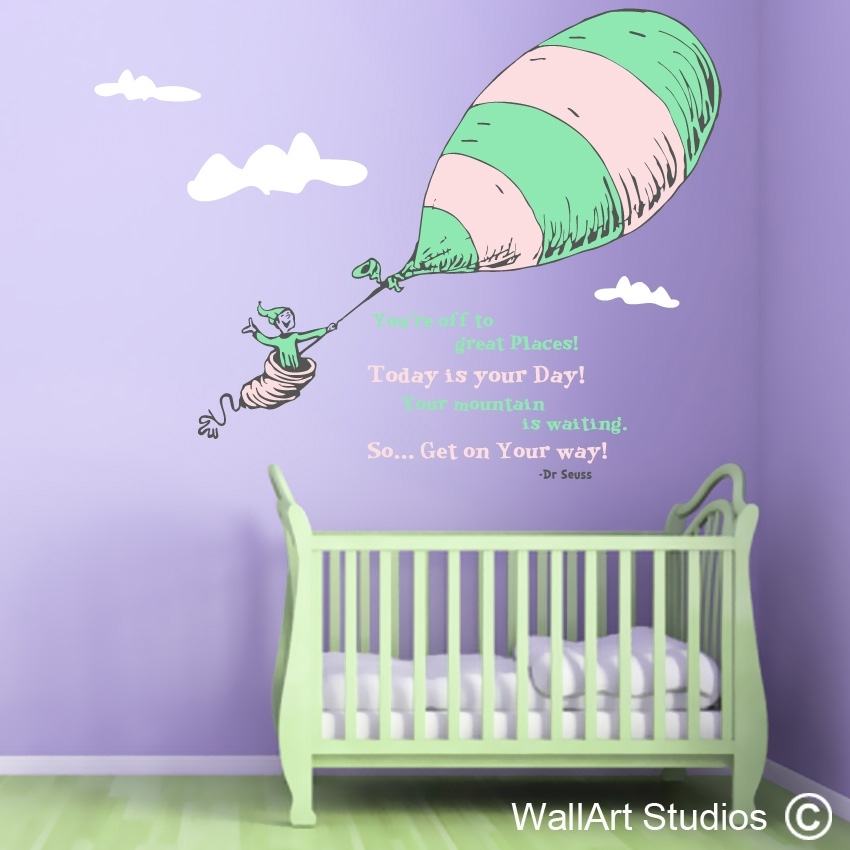 Dr Seuss Custom Wall Art Vinyl Stickers – Places We Go | Wall Art Pertaining To Dr Seuss Wall Art (Image 1 of 10)