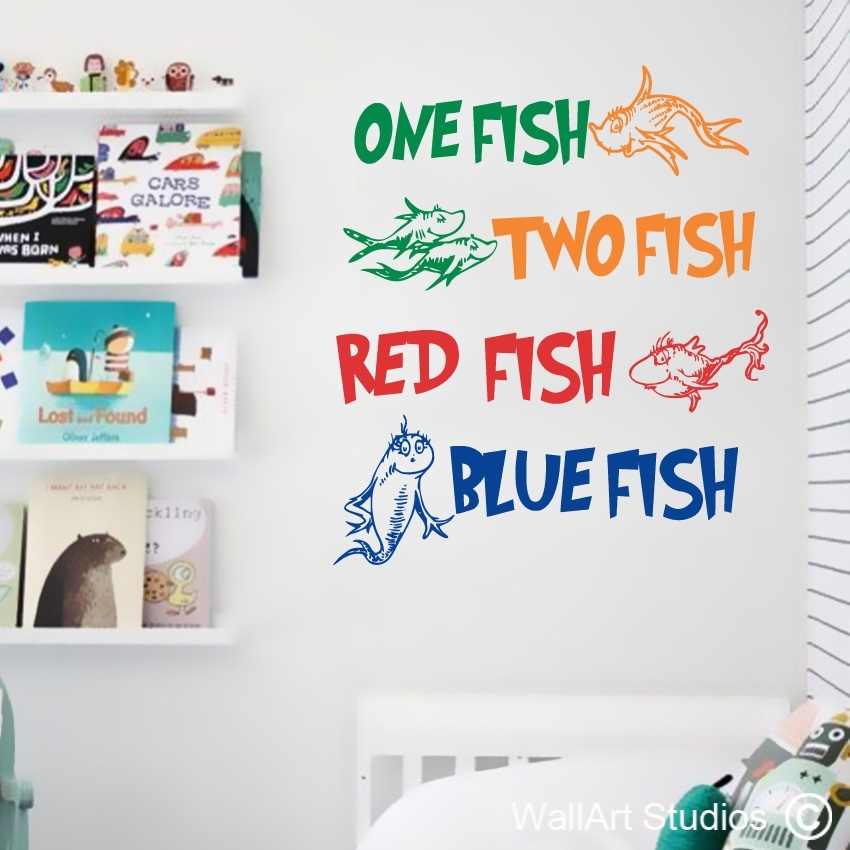 Dr Seuss One Fish Wall Art Stickers | Wall Art Studios Uk In Dr Seuss Wall Art (Image 2 of 10)