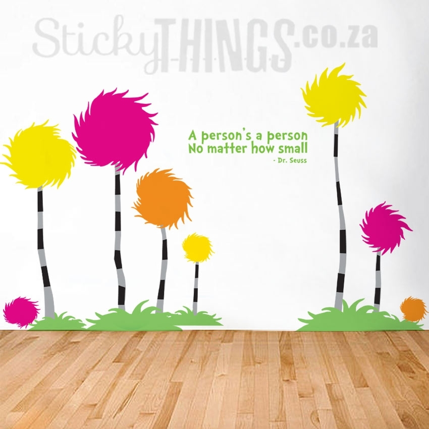 Dr Seuss Wall Art Decal – Truffula Treesstickythings.co.za With Regard To Dr Seuss Wall Art (Photo 3 of 10)