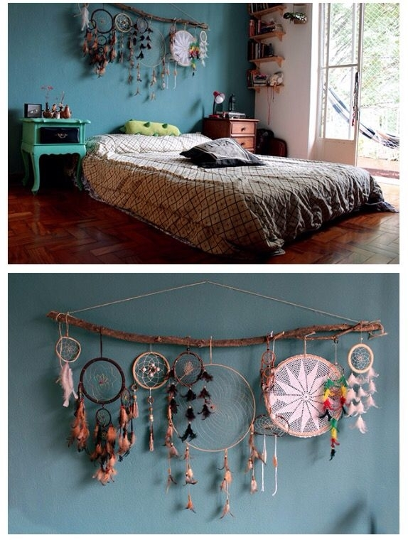 Dream Catcher Decor Over Bed Or Headboard , Bohemian Hype Bedroom Pertaining To Bohemian Wall Art (Image 5 of 10)