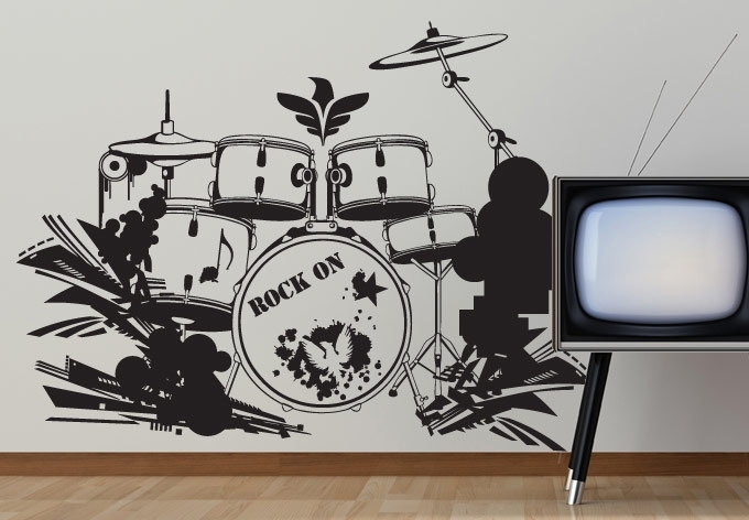 Drum Set Wall Decal Decor – Music Style For Your Home In Music Wall Art (Image 3 of 10)