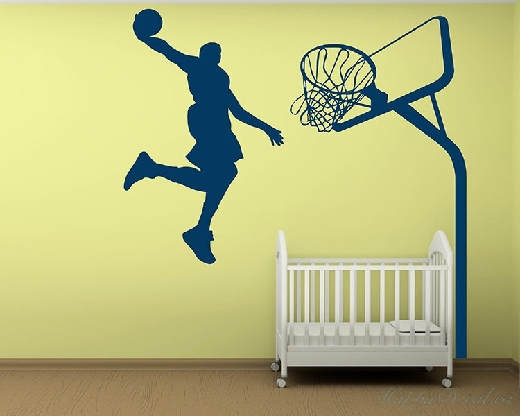 Dunking Boy Vinyl Decals Silhouette Modern Wall Art Sticker Pertaining To Basketball Wall Art (Photo 5 of 10)