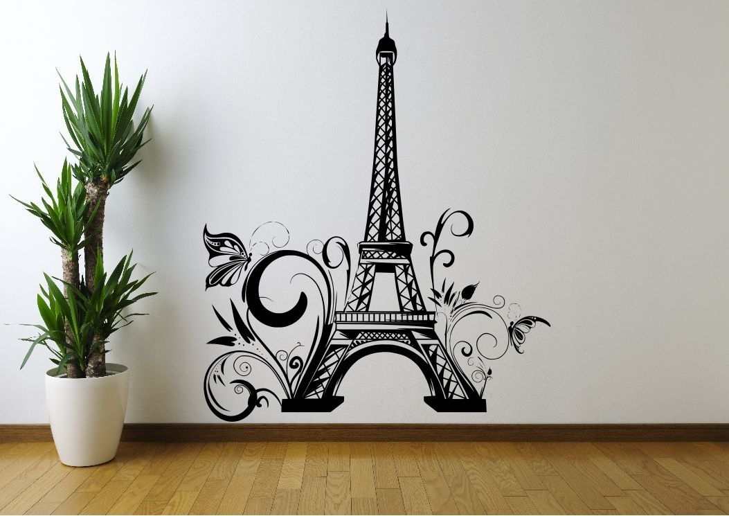 Eiffel Tower Flowers Paris Wall Sticker Decal Mural Stencil Vinyl With Regard To Paris Wall Art (Photo 10 of 10)
