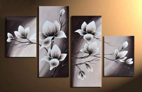 Elegant Blooming Flowers  Floral Oil Painting Wall Art Modern Canvas Throughout Canvas Wall Art (Image 4 of 10)