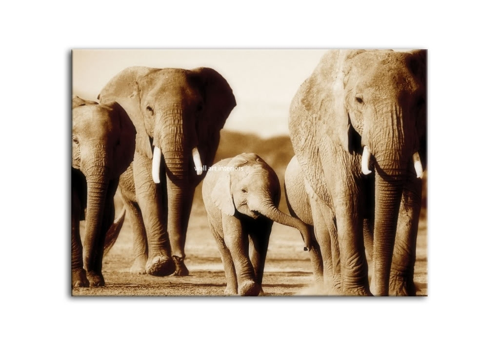 Elephant Canvas Wall Art | Craft Get Ideas Pertaining To Elephant Canvas Wall Art (Image 2 of 10)